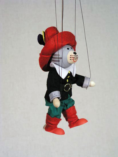 Кот в сапогах Кнопик деревянная марионетка