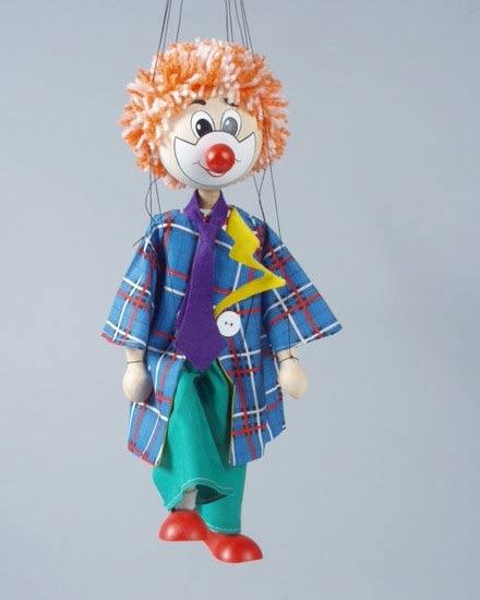 Клоун Жеpap деревянная марионетка