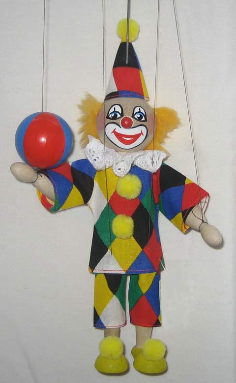 Клоун и мяч деревянная марионетка